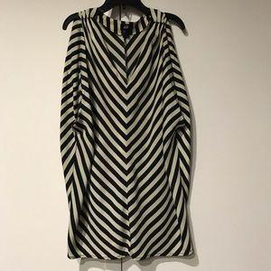 Diagonal Stripe Cap Sleeve Top